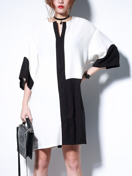 White H-line Casual Color-block Mini Dress
