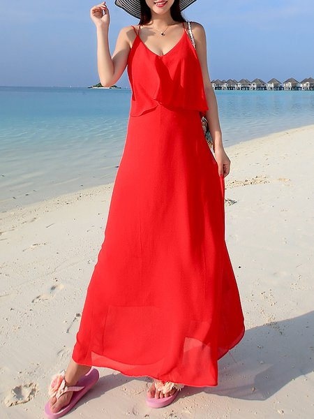 Red Paneled A-line Plain Spaghetti Maxi Dress