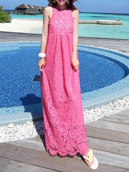 Fuchsia Lace Sleeveless A-line Maxi Dress
