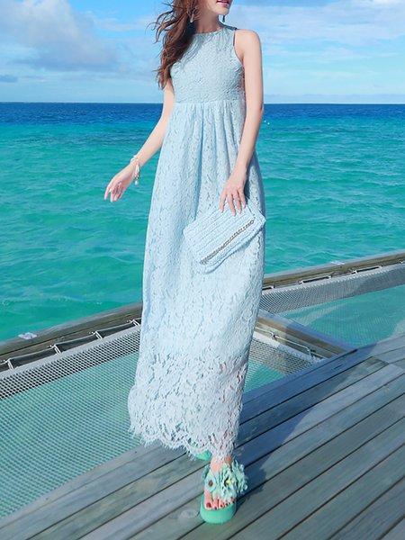 Light Blue A-line Sleeveless Maxi Dress