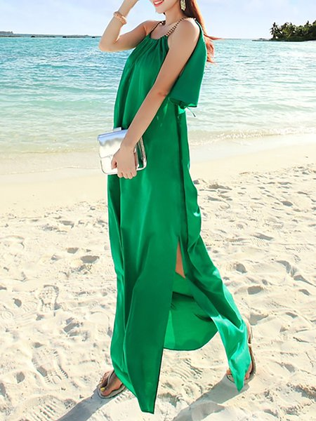 Green Spaghetti Sleeveless Maxi Dress