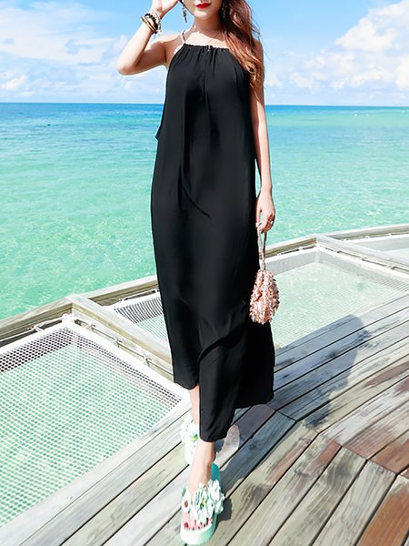Black Paneled Boho Plain Polyester Maxi Dress