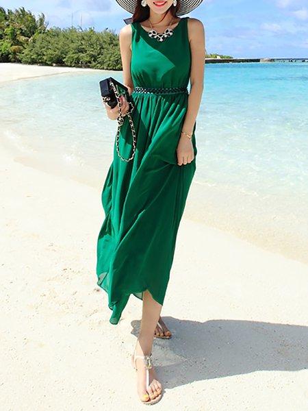 Green Boho Cutout Chiffon Midi Dress