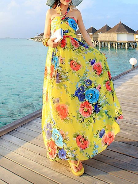 Yellow Chiffon Floral Boho Maxi Dress