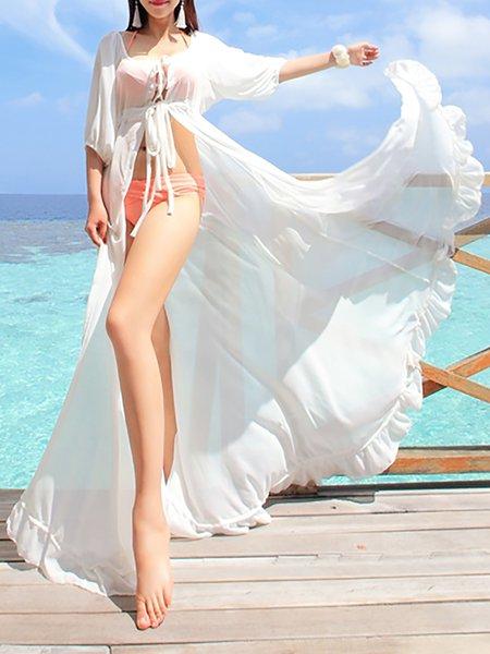 Plain Boho 3/4 Sleeve Square Neck Maxi Dress
