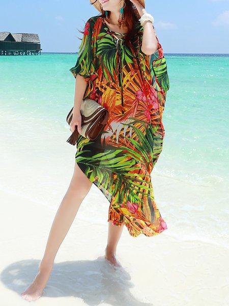 Green H-line Floral Boho Maxi Dress