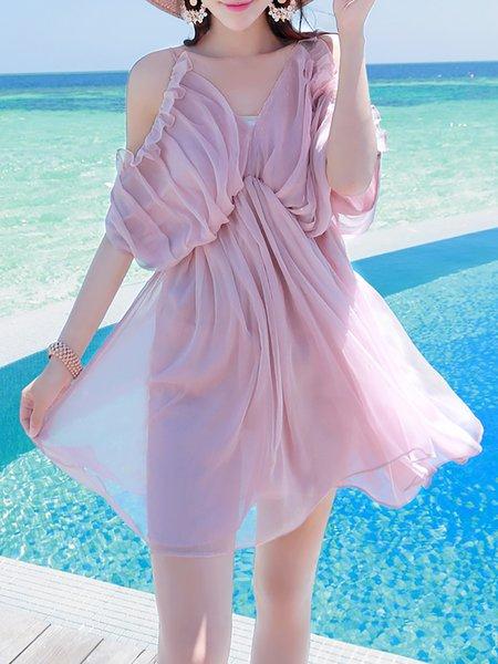 Pink V Neck Batwing Mini Dress