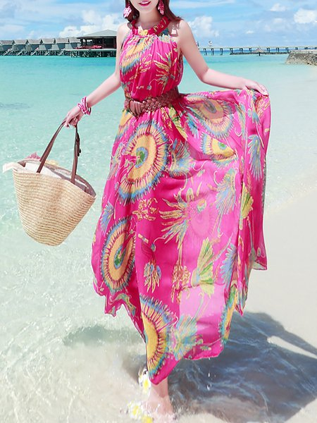Chiffon Sleeveless Boho A-line Maxi Dress