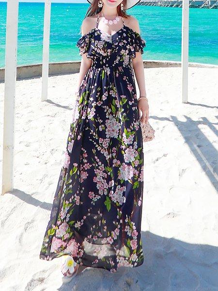 Navy Blue Short Sleeve Floral Chiffon Maxi Dress