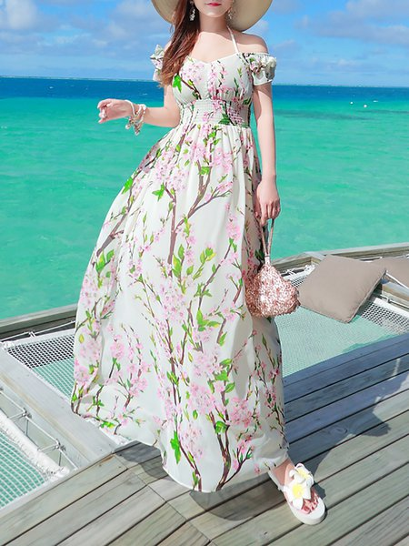 White A-line Boho Floral Chiffon Maxi Dress