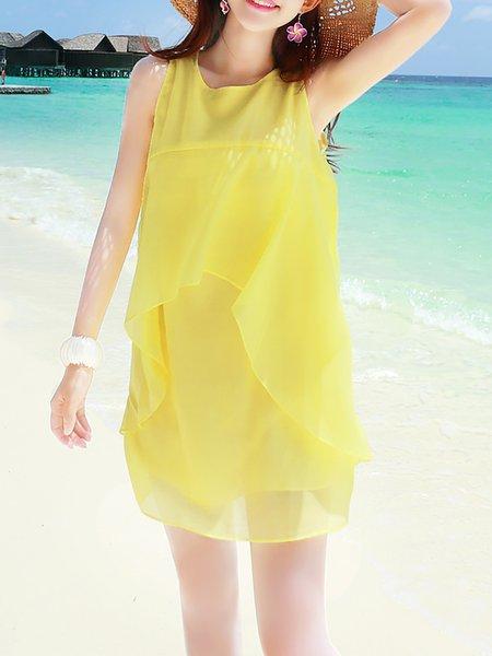 Yellow Organza Shift Sweet Mini Dress