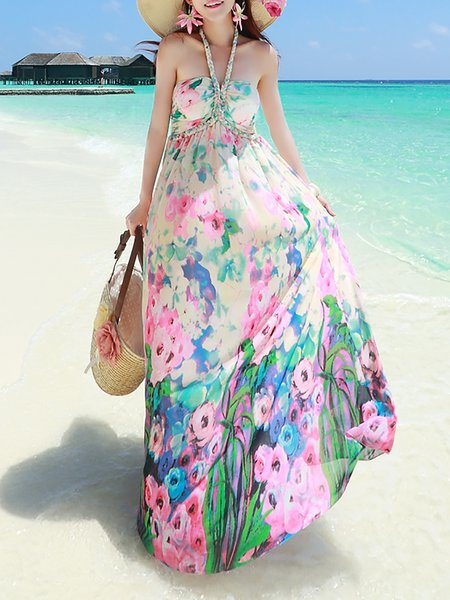 Floral Boho Halter Sleeveless Maxi Dress