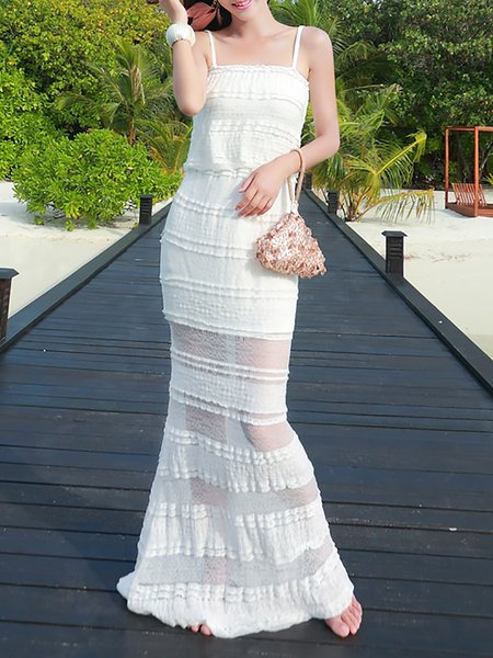 White Spaghetti Mermaid Maxi Dress