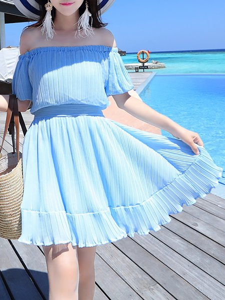Light Blue Short Sleeve Plain Mini Dress