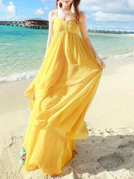 Yellow Boho Ruffled A-line Chiffon Maxi Dress