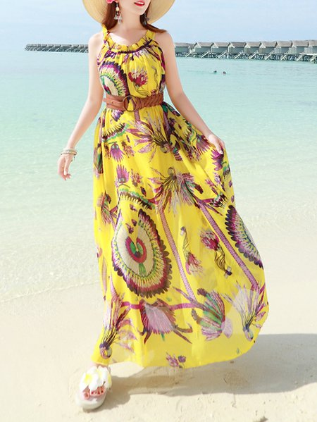 Yellow Crew Neck Printed Sleeveless Maxi Dress