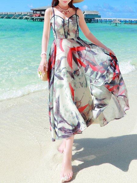 Gray Swing Printed Boho Chiffon Maxi Dress