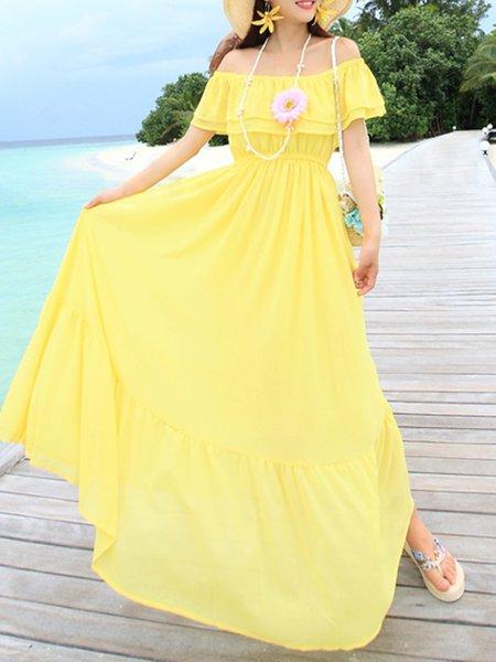 Girly Shirred Solid Chiffon Swing Maxi Dress
