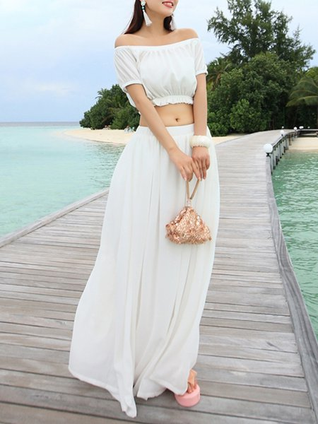 Off the shoulder white maxi dresses