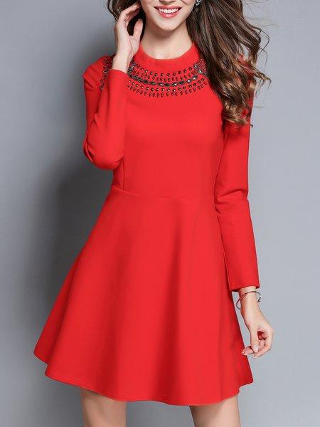 Elegant Long Sleeve Zipper Midi Dress