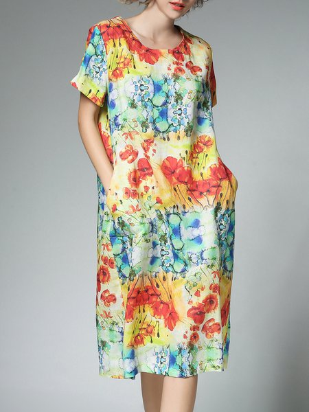Crew Neck Casual Shift Short Sleeve Printed Midi Dress