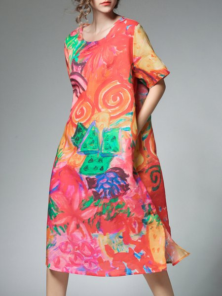 Multicolor Cotton-blend Casual Crew Neck Midi Dress