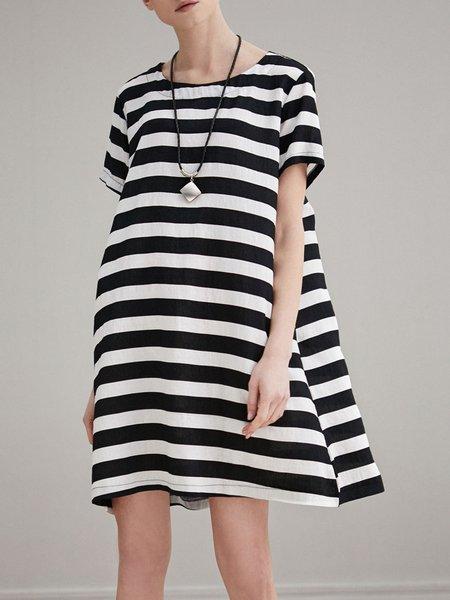 Shift Casual Short Sleeve Stripes Mini Dress
