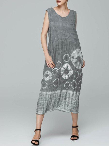 A-line Crew Neck Printed Simple Sleeveless Midi Dress