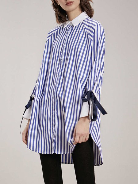 Casual Stripes Cotton Asymmetrical Long Sleeve Tunic