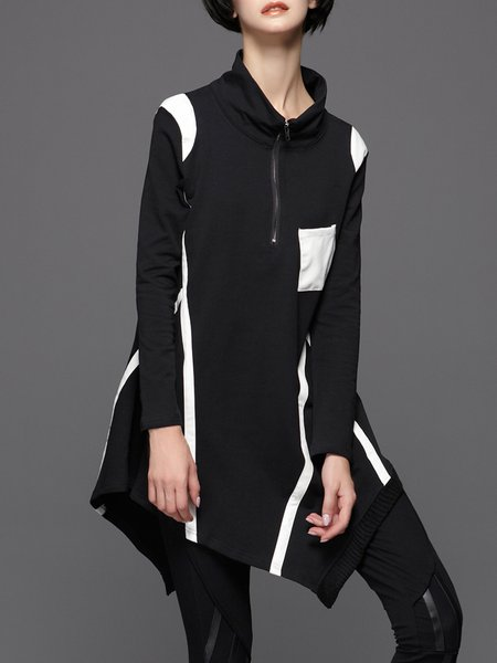 Black Asymmetrical Cotton-blend Casual Color-block Sweatshirt