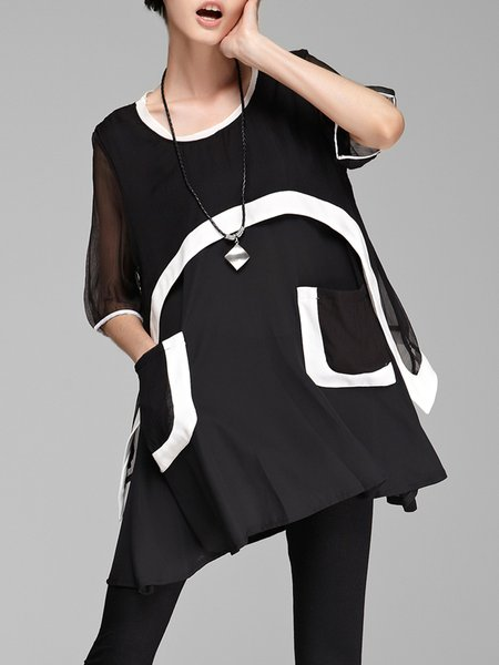Color-block Half Sleeve Casual Crew Neck Ruffled Chiffon Tunic
