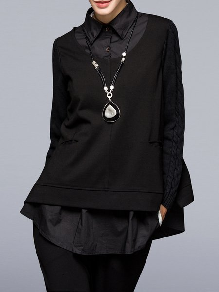 Black Knitted Paneled Long Sleeve Shirt Collar Tunic