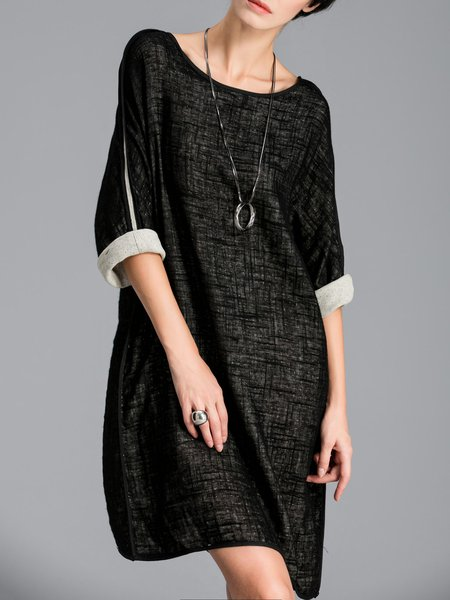 Black Shift Paneled Cotton-blend Batwing Midi Dress