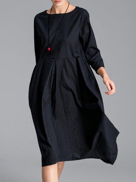 Navy Blue Asymmetric Crew Neck 3/4 Sleeve Midi Dress
