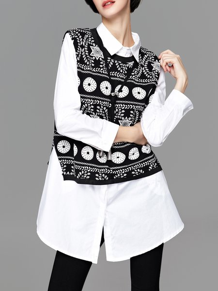 Black Long Sleeve Two Piece Printed Graphic Tunic