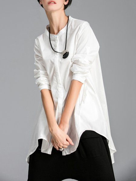 Asymmetrical Casual Long Sleeve Cotton Tunic