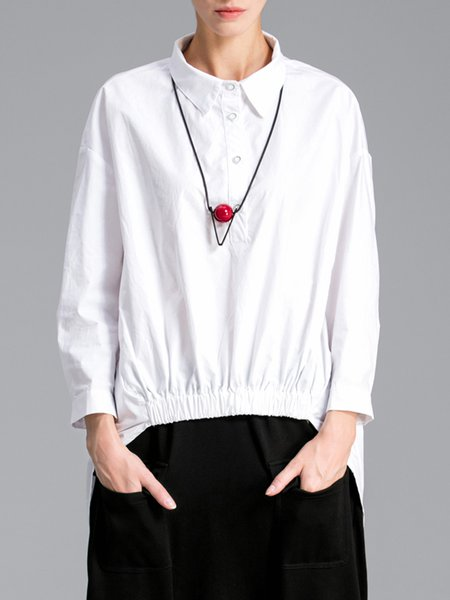 White Buttoned Casual Asymmetrical Tunic