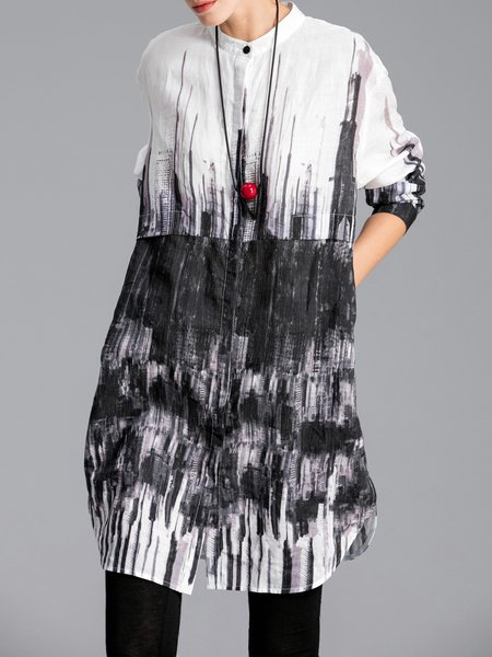 Black Stand Collar Casual Ombre/Tie-Dye Tunic