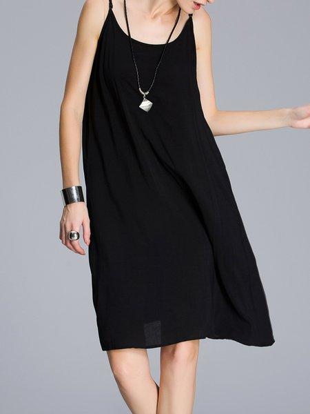 Basic Solid Spaghetti Cotton Midi Dress