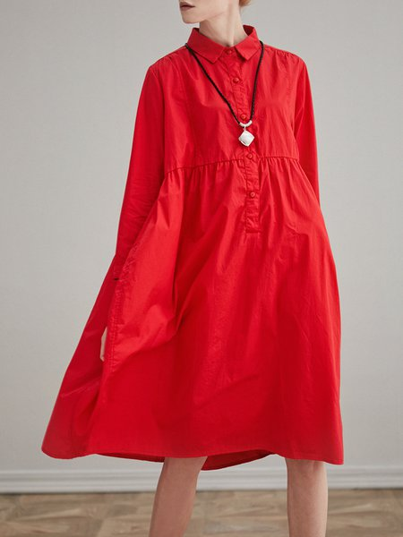 Long Sleeve Solid Casual Cocoon Shirt Collar Midi Dress