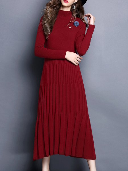 Plain Casual Knitted A-line Sweater Dress