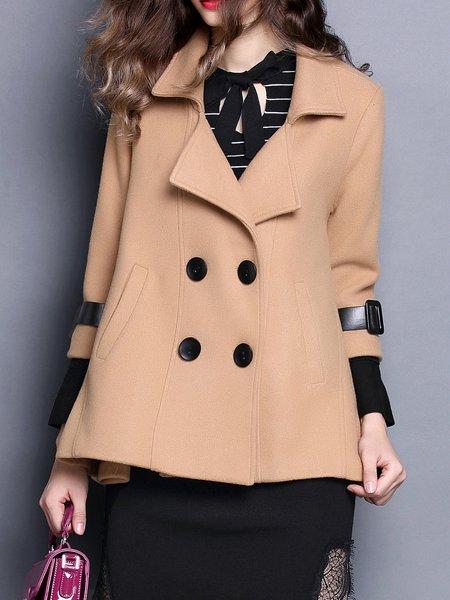 Plain 3/4 Sleeve Casual Lapel Coat with Pockets
