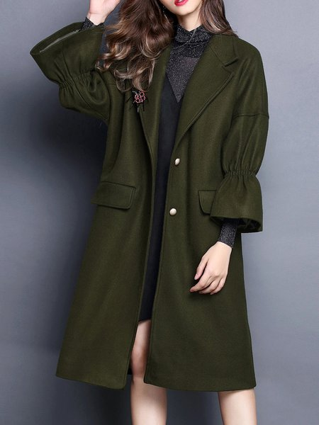 Casual Lapel Frill Sleeve Coat with Pockets