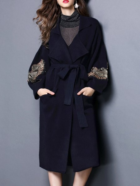 Beaded Long Sleeve Casual Wool Cardigan with Pockets