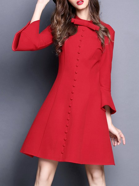 Red Cotton-blend Solid Ruffled Girly Mini Dress
