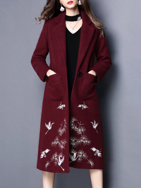 Long Sleeve Lapel Embroidered Casual Coat with Pockets