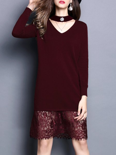 Long Sleeve Plain Knitted Paneled Sweater Dress
