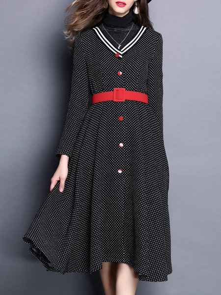 Black A-line Polka Dots Casual Midi Dress