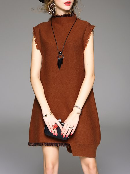 Khaki Cocoon Knitted Casual Sweater Dress
