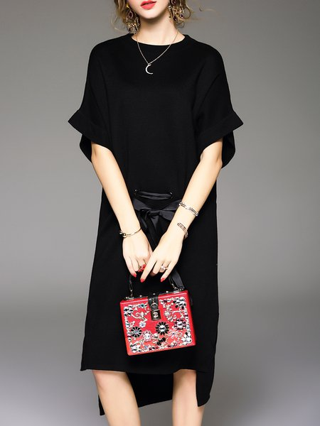 Black Casual Crew Neck Asymmetric Sweater Dress